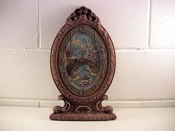 Vintage Decorative Wall Mantel Clock Syroco Wood Keywind