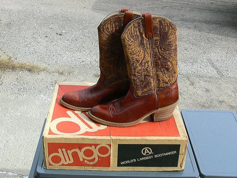 d29a9cdfe93 Vintage Leather Cowboy Boots Western Rockabilly Style Acme Dingo Mens Shoes  Footwear Size 10D