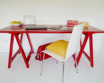 Mr Red trestle table - desk, dining table, coffee table, breakfast bar, console table, hall table, kids desk