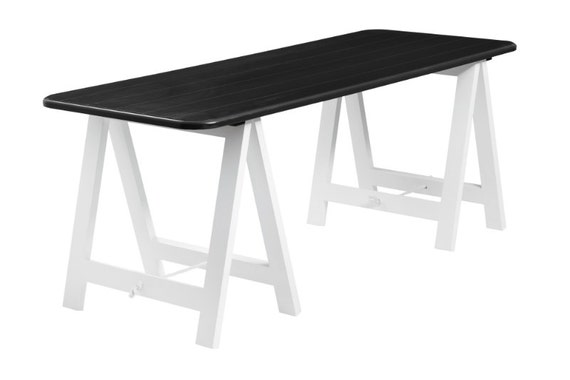 Black Top White Legs Trestle Table Desk Dining Table Etsy
