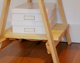 Trestle shelves pair - pine - natural or stained, custom made to fit your trestle table