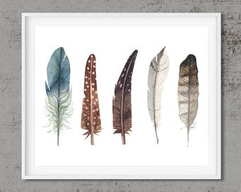Feather print, printable art, feather print art, feather wall art, art printable, Digital Download, water color print, feather collection