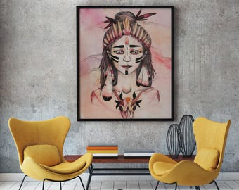 Warrior Goddess Poster, Warrior Princess Print, Healing Art Poster Print, Visionary Healing Art, Spiritual Art, High Quality Artist Painting