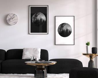 Full Moon Poster Art, Set of 2, Lunar Moon Print, Lunar Moon Print, Prints Moon Phase, Crescent Art, Moon Wall Art, Decor Moon Artwork, Luna