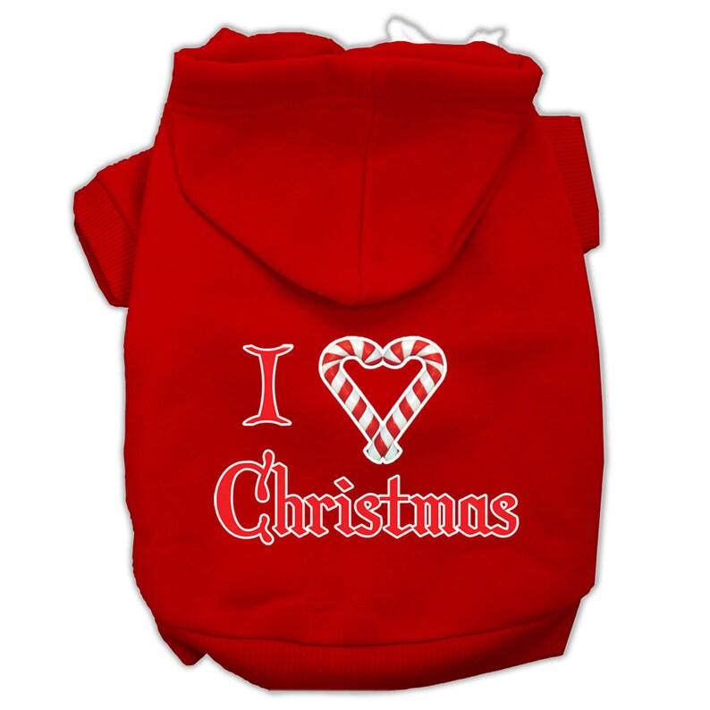 Christmas Dog Hoodie I Heart Christmas