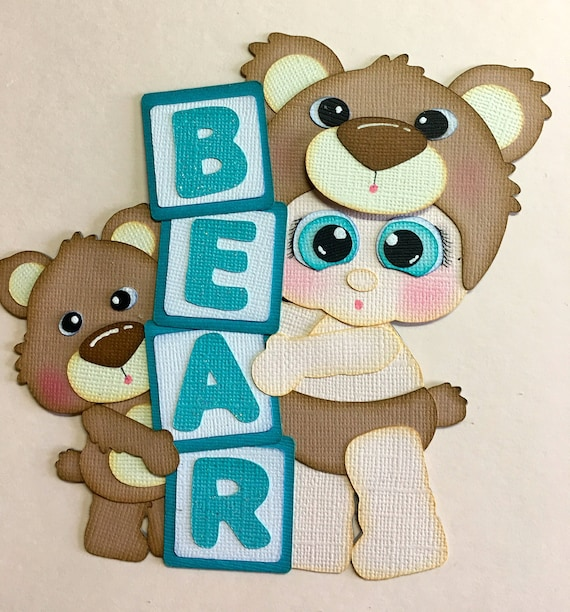 Scrapbook /& Card Making 1 Bear with Gift Premade PAPER Die Cuts