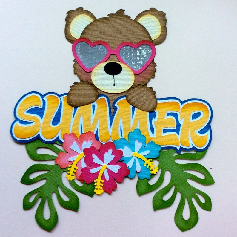 Scrapbook /& Card Making 1 Bear with Sign Premade PAPER Die Cuts