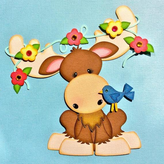 Spring moose paper piecing die cut scrapbook embellishment