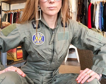b2db432e0b7 vintage 70s summer flight suit streetwear jumpsuit coveralls flyers army  olive khaki size xsmall small womens mens