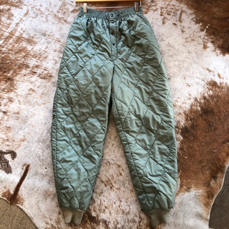 vintage 90s 80s quilted army flyer liners olive puffy puffer streetwear high waist winter pants joggers size medium womens