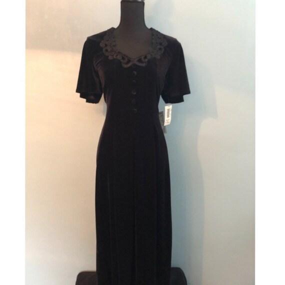 Vintage 90s black velvet dress, NWT, 90s does 40s,