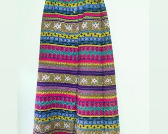 Size M L Vintage 1970s Maxi Skirt Alex Colman Side Buttons Floral Acrylic Bark Cloth Red Black Cream Gold