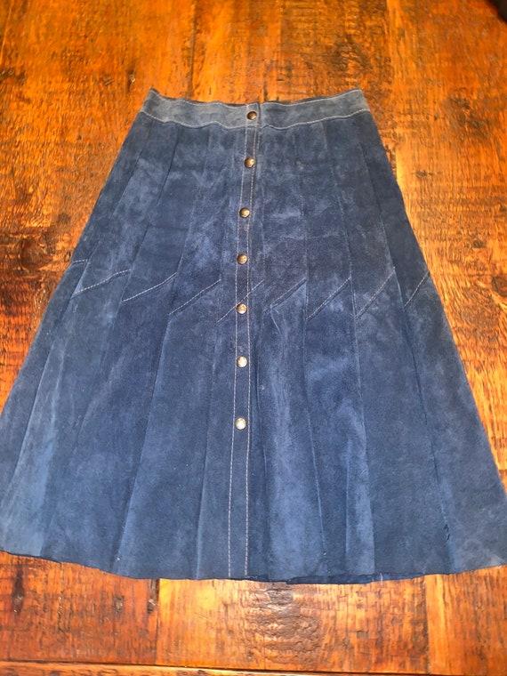 Vintage 60-70s blue suede patchwork skirt