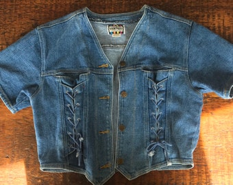 Womens 80s denim short sleeve bolero jacket