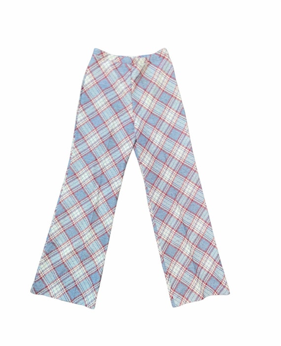 Vintage 70s plaid slight flare polyester pants
