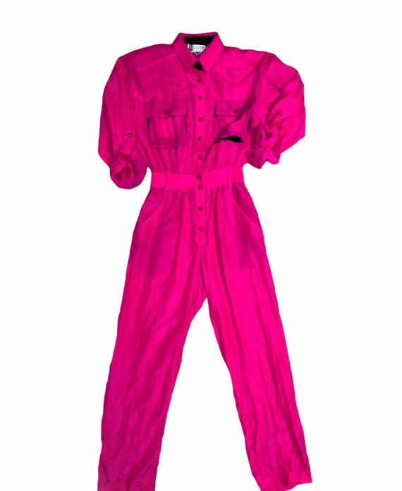 Vintage 80s-90s Hot pink silk one piece jumpsuit