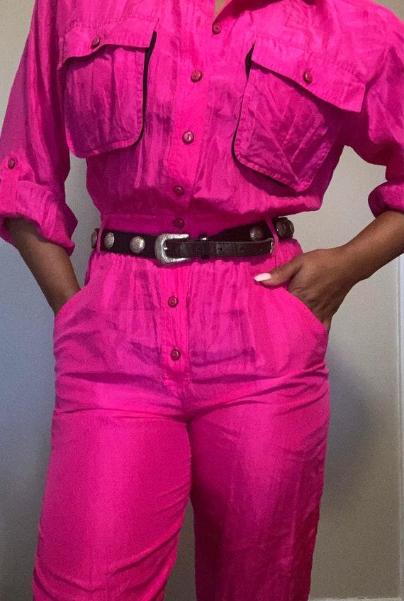Vintage 80s-90s Hot pink silk one piece jumpsuit