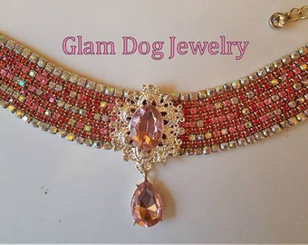 Pink and AB Pet Necklace with Pendant