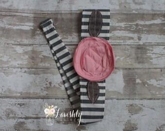 Rose - Fabric Flower Head Wrap/Fabric tie headband/Adult Flower Headbands/Rosette Fabric Headband/Flower Headwraps