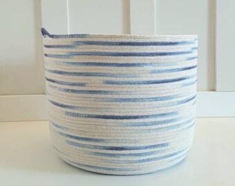 Medium Dip Dyed Blue and White Rope Basket