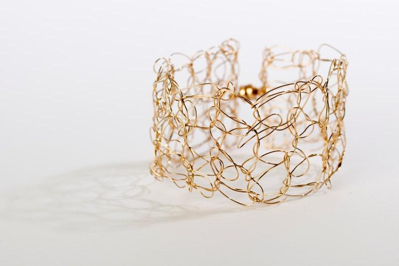 Daphne small gold filled crochet cuff bracelet image 0