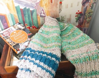 Hand Knit Cowl Scarf- made from recycled yarn!