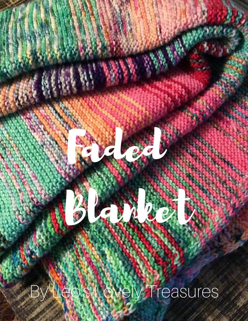 Faded Blanket PATTERN Knitting Pattern INSTANT DOWNLOAD image 0