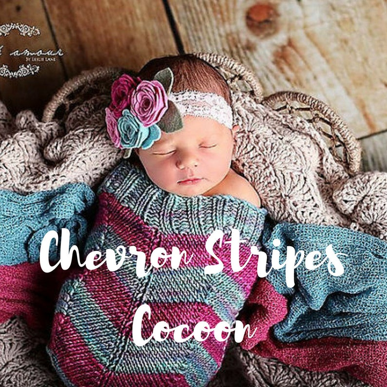 Chevron Stripes PATTERN Knit Baby Cocoon Instant PDF Download image 0
