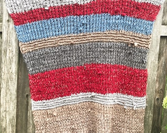 Bruton Gaster- Hand Knit Weighted Zero Waste Blanket Made from Recycled Textiles