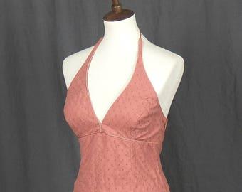 Vintage-Inspired Peach Halter Top Swing Sundress