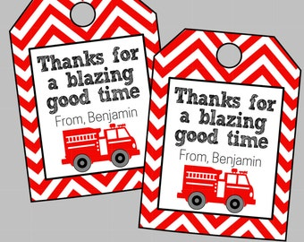 Personalized Fire Truck Party Favor Tag. Thanks For A Blazing Good Time. Digital Party Favor Tag. Perfect for Fire Truck or Fireman Party