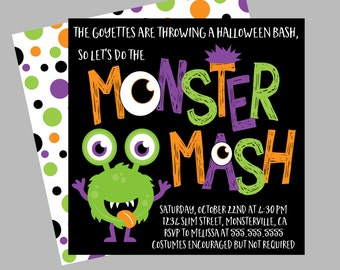 Halloween Monster Party Invitation. Halloween Monster Bash Invitation. Personalized, Digital Invitation.