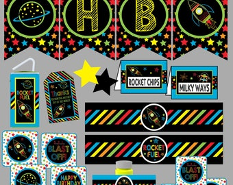 Space Birthday Party Invitation Package. Outter Space, Rocketship, Alien Birthday Party Decorations Instant Digital Download Printable Party