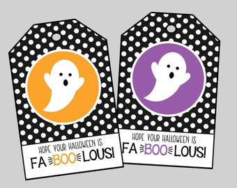 Fa-BOO-lous Halloween Tags. Hope Your Halloween is Fa-Boo-lous! Printable Halloween Treat Tags, Ghost Tags.  Instant Digital Download