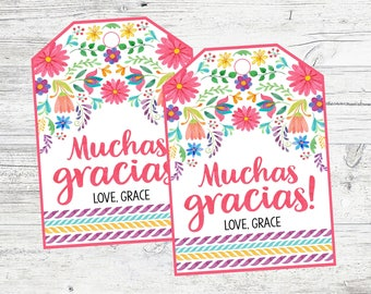f466d376b Personalized Muchas Gracias Favor Tags for Fiesta Birthday Party
