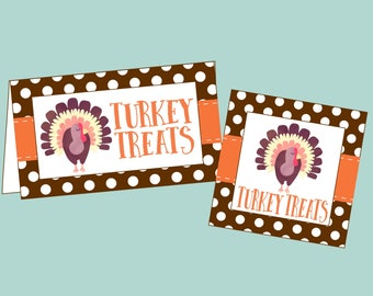 Turkey Treats Bag Topper and Hang Tag. Printable Thanksgiving Tags & Treat Topper. Instant Dogital Download.