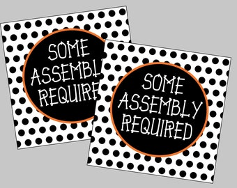 Some Assembly Required Halloween Skeleton Tags. Printable Halloween Cookie Tags. Instant Digital Download Files