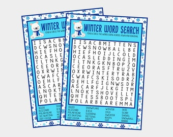 photograph about Chain Reaction Word Game Printable named Wintertime term appear Etsy