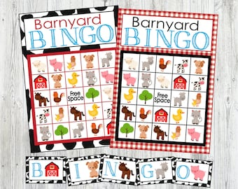 Printable Farm Animal Bingo Game 12 Card Set Instant Digital Download Perfect For Party Or Lesson Plan