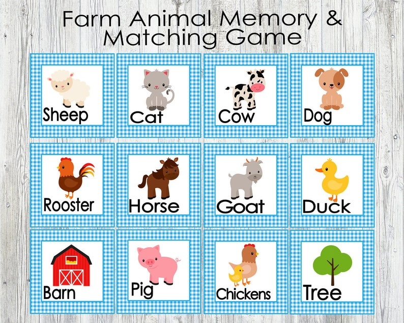 photograph regarding Matching Games for Toddlers Printable titled Blue Farm Animal Matching and Memory Activity. Printable Video game for Babies, Preschoolers, Young children. Flash Playing cards. Fast Electronic Obtain