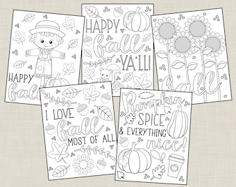Printable Fall Coloring Pages For Kids Or Adults! Autumn, Fall, Harvest, Pumpkin, Seasons Coloring Pages. Instant Digital Download
