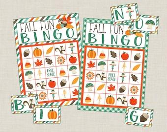 Printable Fall Fun Bingo Game Set! 12 Card Bingo Set. For Fall, Harvest, Autumn Birthday, Class Activity or Fun. Instant Digital Download.