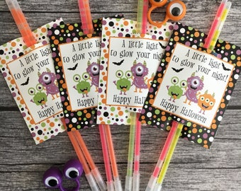 Printable A Little Light To Glow Your Night. Monster Glow Stick cards for Halloween Party Favor, Trick or Treating Instant Digital Download