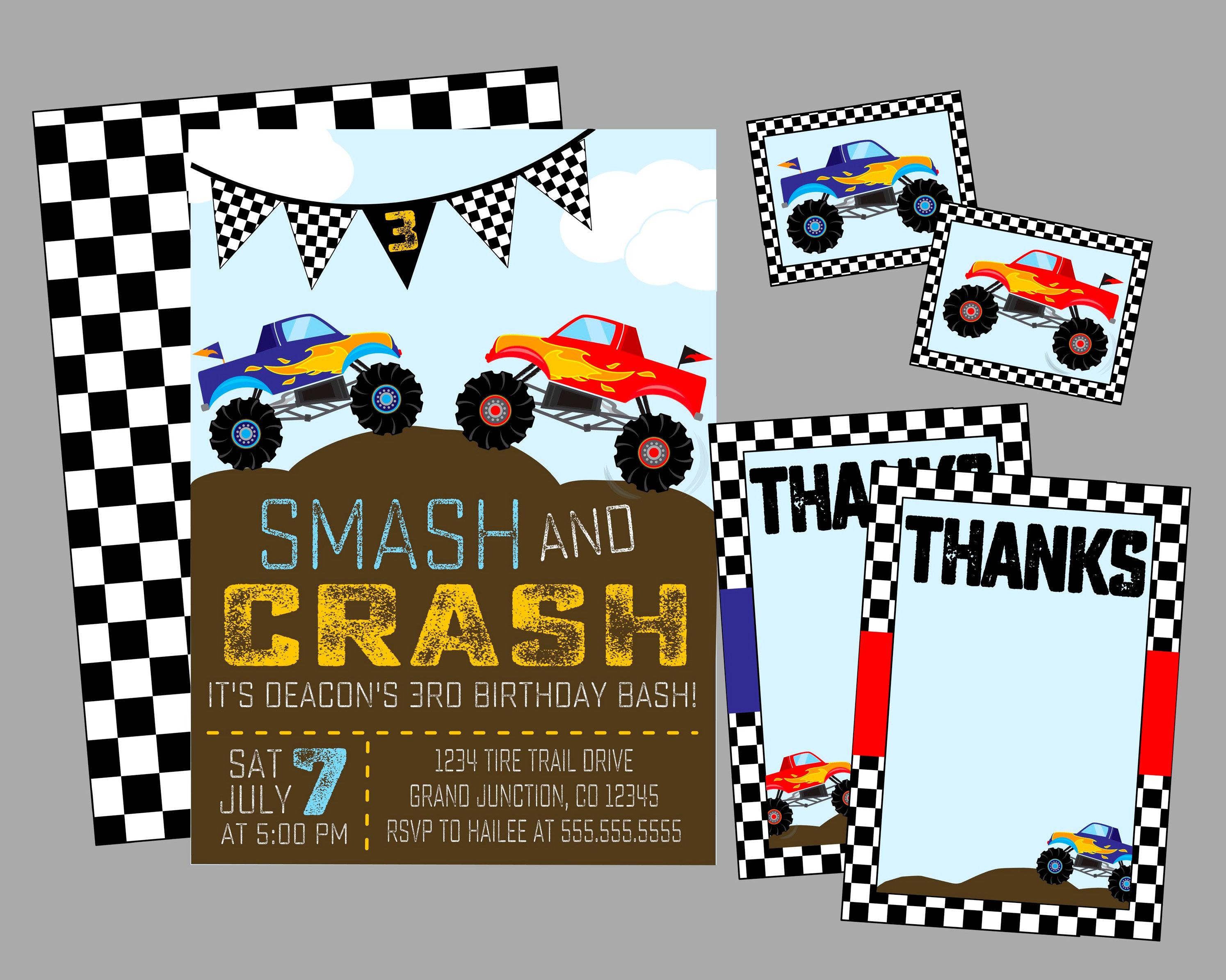 Monster Truck Birthday Party Invitation Smash And Crash Etsy