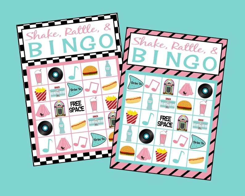 Soda Shop Bingo Game 24 Card Set Printable 50 S Bingo Etsy