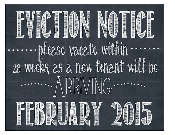 eviction notice pregnancy announcement sign personalized etsy