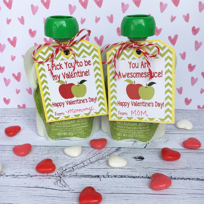Applesauce Valentine's Day Cards and Stickers. Hang Tags image 0