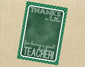 Thanks A Latte Card. Perfect For Coffee Gift Card. Teacher's Apperciation, Father's Day, Anyone! Instant Digital Download. Gift Card Holder