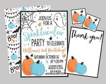 Halloween Spooktacular Birthday Party Invitation. Blue & Orange Halloween Party Invitation Personalized/Printable/Digital Invitation.