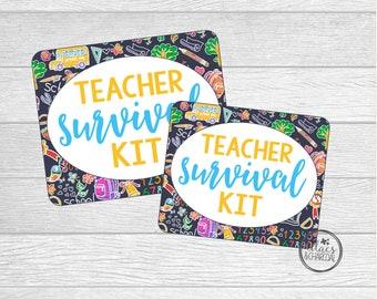 Printable Teacher Survival Kit Tags for Back To School or Teacher Appreciation.  Instant Digital Download.